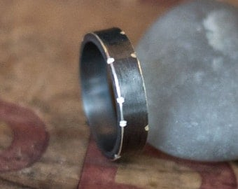 Men's Silver Ring - Oxidized Black Silver Ring - Boyfriend gift - Husband Gift - Men's Personalized Ring- Unique Mens Ring - Under 100
