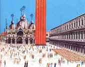 Piazza San Marco in Venice Italy, 1960s vintage mid century illustration