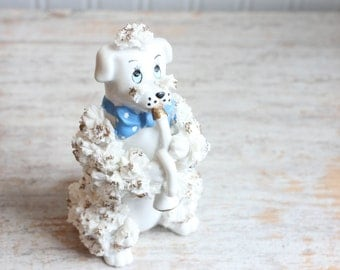 Vintage White Poodle Spaghetti Figurine,  Poodle with Horn, Spaghetti Dog, White Poodle, Dog with Horn, Kitsch Poodle, Terrier Boy