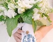 "custom monogrammed bouquet ribbon WITH WEDDING DATE (3"" wide grosgrain), bridal bouquet, bridesmaid bouquet"