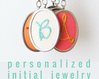 Personalized Jewelry. Initial Necklace. Embroidered Letter. Cursive Letter Necklace. Hand Embroidery.  Gifts for Mom Under 50.