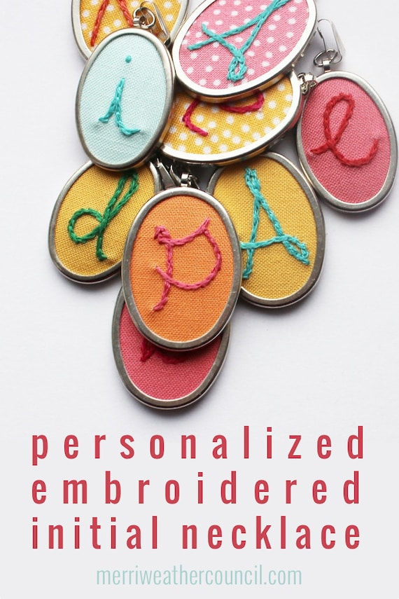 Embroidery Initial Necklace. Embroidered Letter Pendant. Personalized Gifts.
