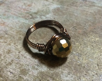 faceted metallic glass antique brass/ gold wire wrapped Ring - size 7 - formal party disco ball holiday statement women fashion jewelry