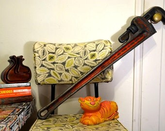 """GIANT 36"""" Rustic Red Ridgid Pipe Wrench: Oversize Industrial Steel Tool w/ Distressed Patina - Great Mancave / Farmhouse / Bar Wall Hanging"""