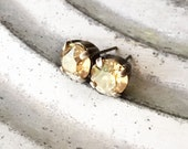 Champagne Rhinestone Stud Earrings, Post, Golden, Solitaire, Silver Ox