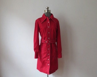 Vintage '60s/'70s Combed Cotton, Super Crisp Permanent Press Belted Shirt Dress, M