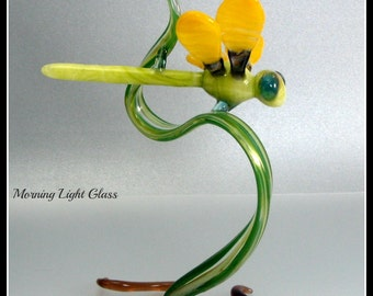 Lime Green Dragonfly Flamework Glass Sculpture Boro Art Glass Nature Inspired Home Decor