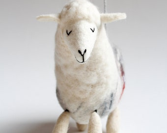 Lana - Felt Sheep, Art Puppet, Felt Toy, Stuffed Animals, Christmas gifts , Felted Toy. soft neutral white. MADE TO ORDER.