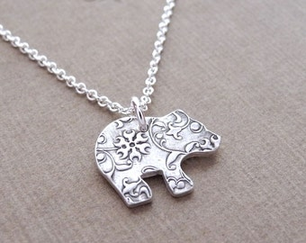 Tiny Bear Cub Necklace, Flowering Vine Grizzly Bear Cub, Fine Silver, Sterling Silver Chain, Ready To Ship