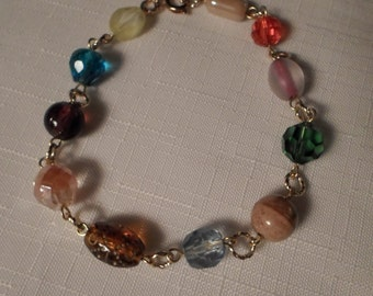 CRYSTAL BRACELET / Bangle / Glass / Multicolor / Fashionista / Hip / Chic / Artisan / One-of-a-Kind / Trendy / Artisan / Modernist Accessory