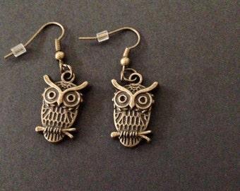 Bronze Wise Owl Earrings