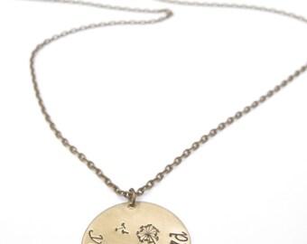Dandelion Necklace // Love Necklace // Boyfriend/Girlfriend Necklace // Personalized Necklace