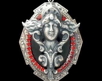 Victorian Nouveau Cameo Lady Necklace in Black, Silver and Red on Silver Plated Brass by Dr Brassy Steampunk