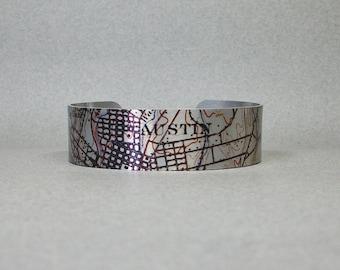 Austin Texas Vintage Grid Map Cuff Bracelet Gift for Men or Women