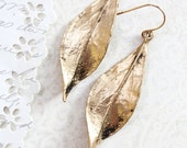 Long Gold Leaf Earrings Woodland Jewellery Nature Inspired Modern Leaf Dangle Earrings Everyday Womens Jewelry Just for Her Gold Wedding