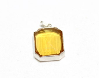 Vintage Yellow Emerald Cut Pendant in Sterling Silver 925