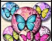 INSTANT DOWNLOAD  New Colorful Butterflies (724) 4x6 and 8.5x11 12mm circles Digital Collage Sheet glass tiles cabochon earrings images