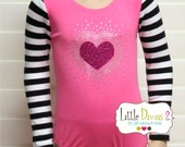 CHILD (Candy Pink) with Striped Valentine's Long Sleeve Leotard