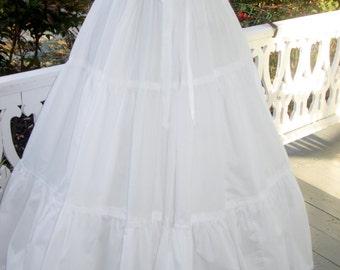 6 (Six)  Yard Cotton Ruffled  Petticoat Colonial, Pioneer, Prairie -Reenactment - Women