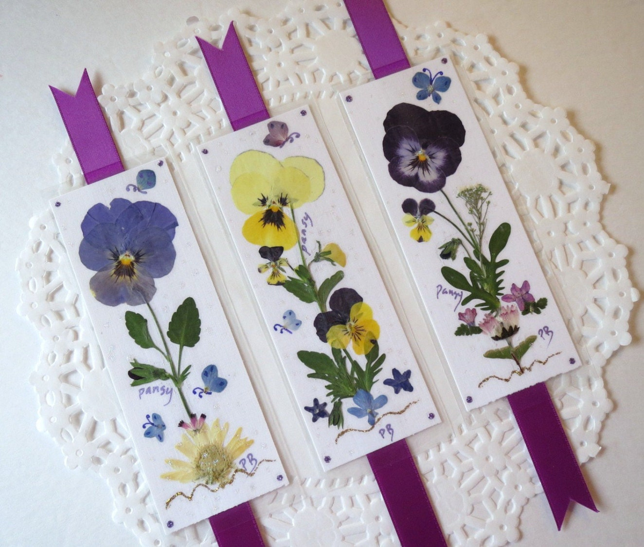 Pressed flower bookmarks book accessories laminated pansy