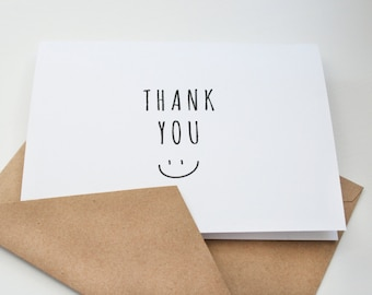 Thank You  --  Smile --  Set of Notes/Envelopes in White & Kraft -- CHOOSE YOUR QUANTITY