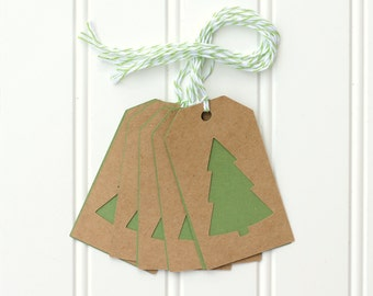 10 Die Cut Christmas Tree Holiday Gift Tags / Favor Tags (3.5 x 2 inches) in Kraft and Green Cardstock with Green & White Baker's Twine