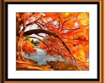 Modern Art Tree Autumn Landscape Abstract Art Print Printable Wall Decor Instant Download Original