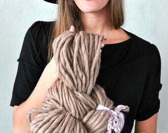Super Bulky Yarn Beige Fawn Beige Handspun baby Soft wool Knitting Supplies Crochet Supplies Chunky Hand spun