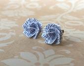 Origami Rose Flower Post Earrings // Recycled