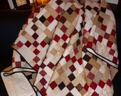 """SALE: Queen Size Quilt Brown, Red, and Tan Modern Irish Chain Professionally Machine Quilted 85"""" x 96"""""""
