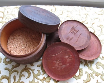 Vintage Hand Carved Round Wooden Box Carved Wood Coasters Asian Style Decor Dining Entertaining YourFineHouse SHIPSWORLDWIDE