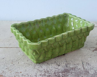 Olive Green Glazed Pottery Planter Pot UpCo