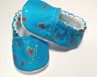 Heart Valentines Day Shoes - Blue Baby Boy Shoes - Blue Baby Girl Shoe - Heart Baby Shoes - Baby Heart Girl Shoes