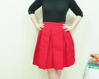 Red Skirt full and pleated skirt very retro and vintage 50's and 60's custom made to order
