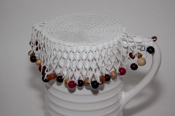 Free Crochet Patterns For Jug Covers : White Crochet Beaded Jug Cover with Wooden and Red Painted