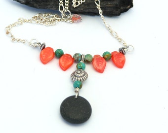 Beach Wear Jewlery Coral and Turquoise Beach Stone Necklace Handmade Sterling Silver Bohemian Style Statement Necklace