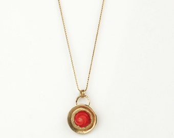 14k gold necklace, 14k necklace, Gold Coral necklace, unique necklaces for women, red gem necklace, solid gold necklace, carved rose