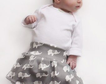 Elephant Skirt- You Choose Color- Organic Cotton - Baby Girl Knit Skirt Elephants with Chevron Ears Foldover Waist 0 3 6 9 12 months
