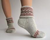 Patterned Hand Knitted Women's Woolen Socks - 100% Natural Wool
