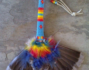 Native American Indian Prayer Fan / Beaded Handle