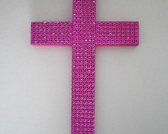 "SPARKLING PINK CROSS - Handpainted Decorative Wall Cross w/ Pink Diamond Mesh  9.5"" x 5.5"""