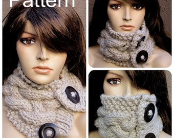 PDF Knitting Pattern, Knitted Chunky Neck Warmer Scarf Cowl, Instructions, PDF Pattern, Instant Download