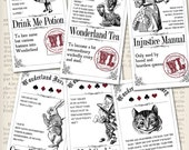 Alice in Wonderland Inventory Labels - printable / save ink - VDAPAL0872