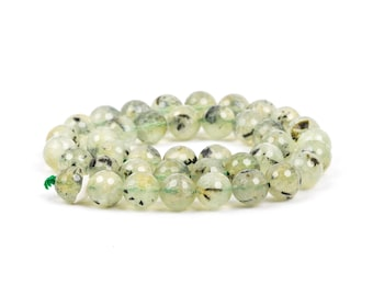 10mm Round Green PREHNITE Faceted Beads, full strand, Natural Gemstones gpr0001
