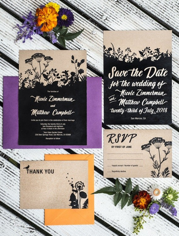 Set of 4 Cards, Rustic  Nature Printable Wedding Invitation Suite