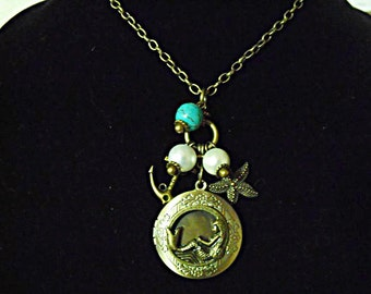 Bronze Locket Necklace,  Nautical Mermaid Necklace With Pearls and Turquoise Bead and Charms Womens Gift Handmade