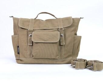 DYLAN // Sandy Brown / Lined with Beige / 078 // Ship in 3 days // Backpack / Diaper bag / Shoulder bag / Tote bag / Messenger Bag / Gym bag