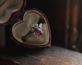 Antique Diamond Ring - Edwardian Ruby Engagement Ring in Rose Gold April and July Birthstone Ring by The North Way Studio.