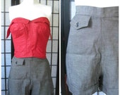 Vintage 1940s 1950s Shorts Gray Cuffs Short Shorts 24 Inch Waist High Waisted S XS Small Deadstock New NOS Charcoal Grey