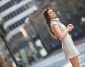 Knitted cotton dress, Knit cotton clothing, Cotton women fashion, High quality women fashion, Cowl neck dress, Casual fitting dress
